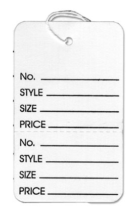 Large Strung Tag White