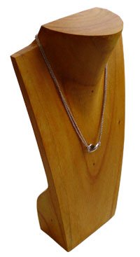 Wood Jewelry Display Bust with Neck