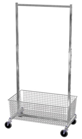 Rolling Rack - Fitting Room Rack with Basket