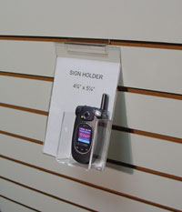 Slatwall Cell Phone Display with Sign Holder